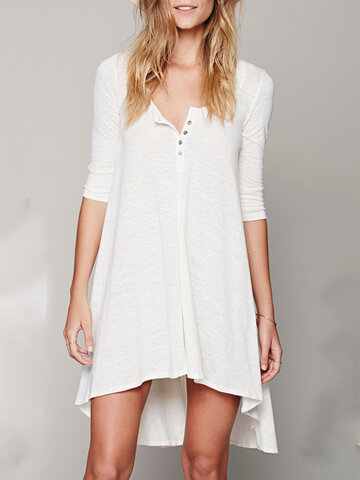 V-neck Button Irregular Dress