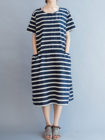 Stripe Short Sleeve Casual Dresses