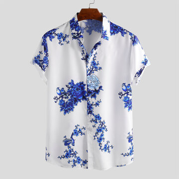 Mens Porcelain Floral Printed Shirt
