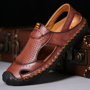 Menico Men Hand Stitching Soft Leather Sandals
