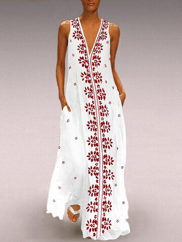 Floral Print V-neck Sleeveless Maxi Dress