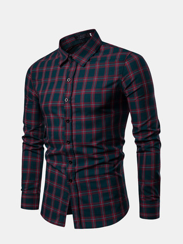 Mens Casual Breathable Single Breasted Plaid Shirt