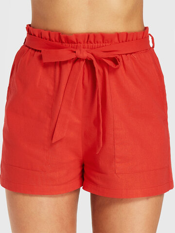 Solid Color Waistband Casual Short