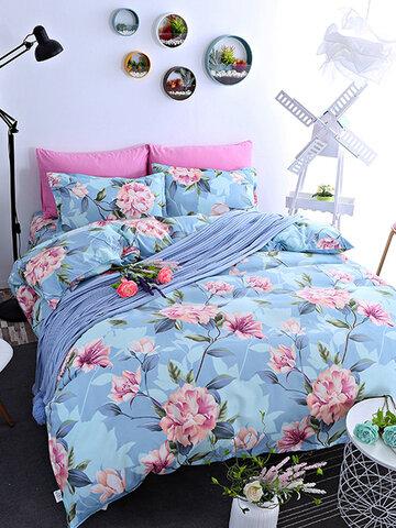 4pcs ensembles de literie en tissu bleu pivoine ensembles de lit plus épais