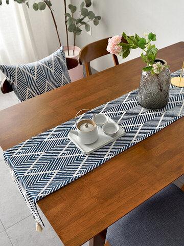 Triangle Pattern Cotton Table Runner Modern Fashion Long  Stripes Wave Jacquard Dining Tablecloth Tea Mat Home Decoration