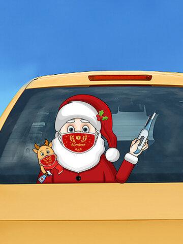 サンタクロース着用マスクワイパーステッカー取り外し可能なリアフロントガラスステッカーカーステッカー
