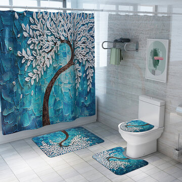 Carved Toilet Seat Shower Curtain Four-Piece Printed Floor Mat Set Anti-Skid Water-Absorbing Bathroom Mat