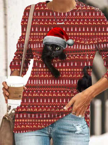 Negro Gato Camiseta navideña estampada
