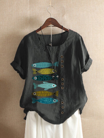 Fish Print Patched T-shirt
