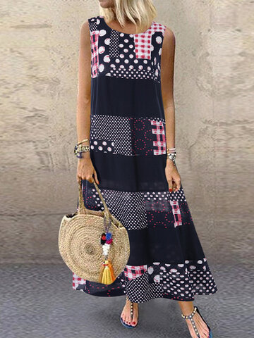 Polka Dot Print Sleeveless Dress