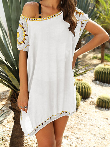 Embroidery Crochet Hollow Out Loose Blouse