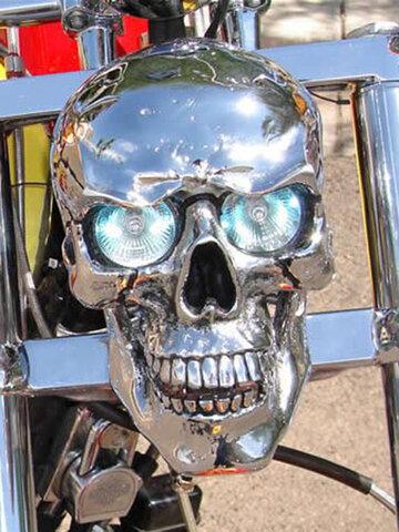 1 pieza luz LED Real Cráneo faro esqueleto Festival de Halloween decorativo para Moto Metal Cráneo forma Moto viga de cabeza Lámpara adorno