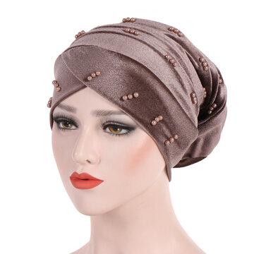 Жемчужная бархатная мусульманская шапка