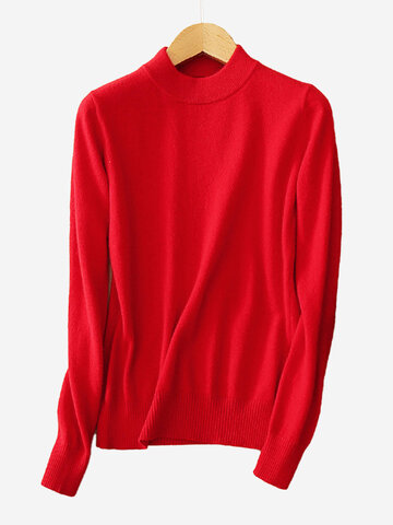 Pure Color Turtleneck Women Sweaters