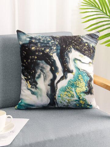 1PC Abstract Marble Stone Pattern Gilding Emerald Short Plush Pillowcase Throw Pillow Cover Sofa Home Car Cushion Cover