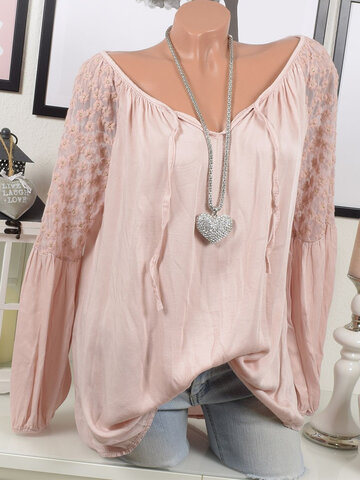 Embroidered Long Sleeve Blouses, Pink grey army green