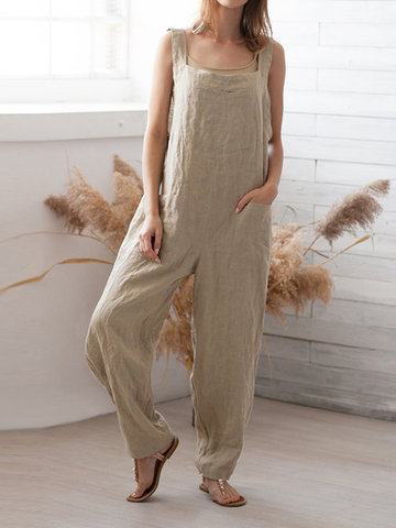Casual Square Neck Long Bib Cargo Jumpsuit