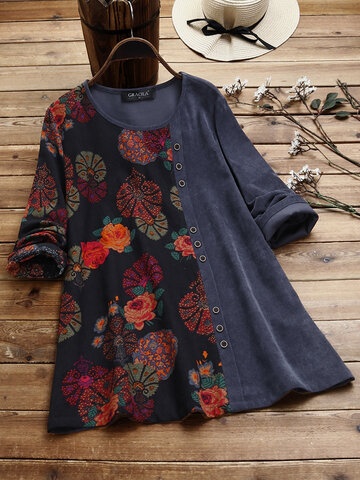 Print Patched Corduroy Blouse