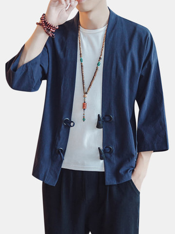 Casual Loose Horn Button Linen Coats