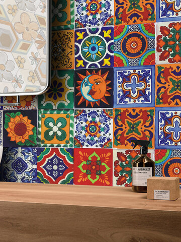 24Pcs Simulation Retro Farbe Fliesen Aufkleber Home Decoration Selbstklebende wasserdichte DIY Wandaufkleber