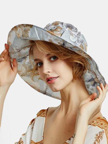 Chapeau de seau à décor de boutons et imprimé calicot pour femmes