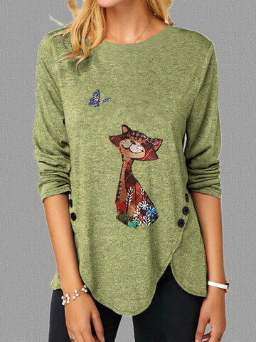 Cartoon Cat Irregular T-shirt