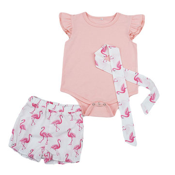 Flamingo Print Baby Romper Set For 0-36M