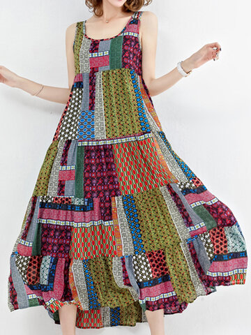 Gracila Bohemian Patchwork Sleeveless O-Neck Long Maxi Dresses