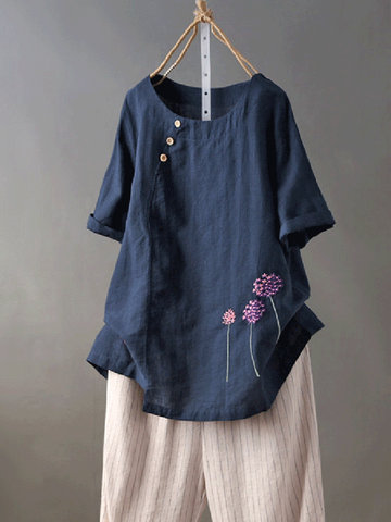 Embroideried Short Sleeve Casual T-Shirt