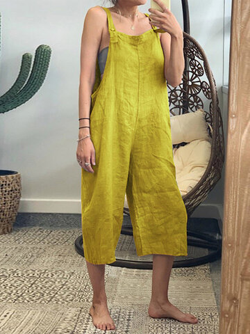 Straps Solid Color Jumpsuit