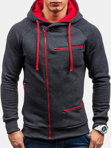 Esporte casual masculino inclinado Zipper Up Drawstring Hoodie