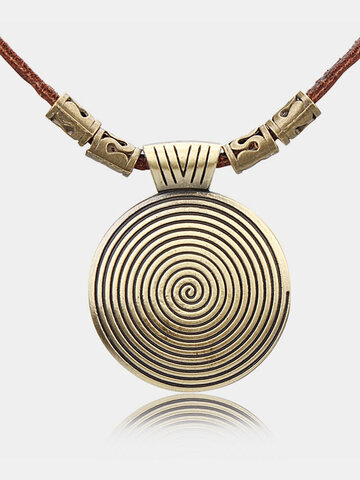 Vintage Gold Leather Long Necklaces