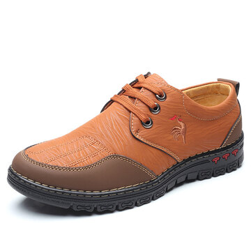 Men Comfy Microfiber Leather Stitching Casual Shoes, Yellow brown khaki