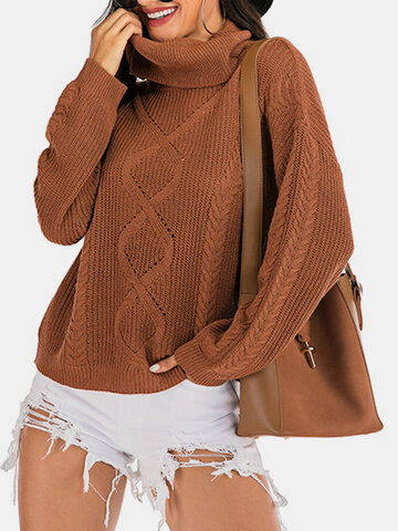 Solid Pullover Ribbed Knit Sweater