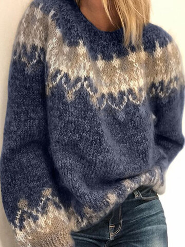 Printed Pullover Knit Sweater