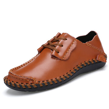 Men Leather Lace Up Flat Weave Casual Soft Shoes