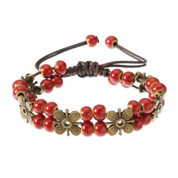 Women's Ethnic Bracelet Flower Ceramics Beads Retro Rope Bracelet