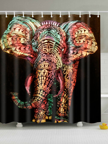 Black Background Elephant Eco-friendly Moldproof Waterproof Bathroom Shower Curtain 2 Size Choices