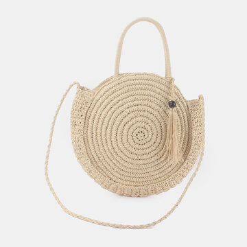 Women Straw Large Capacity Tassel Handbag