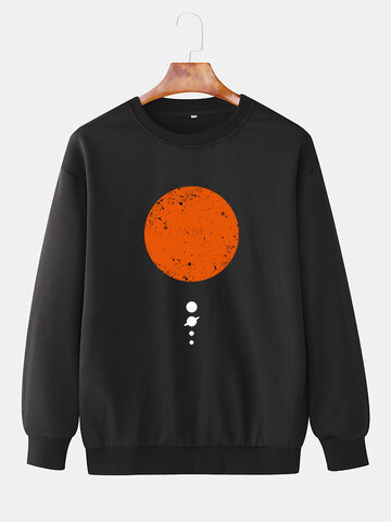 Red Planet Chest Print Sweatshirts