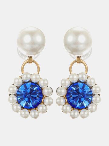 Elegant Gemstone Pearl Earrings