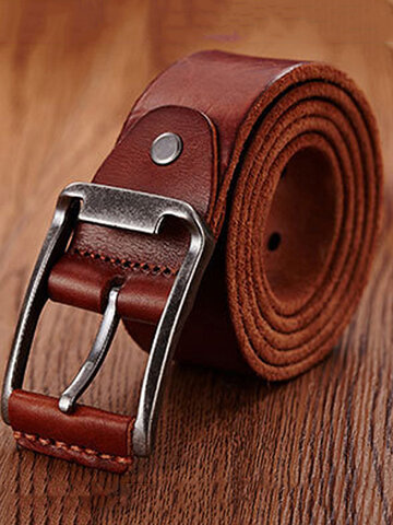 Genuine Leather Men's Belt Casual Waistband Waist Strap Smooth