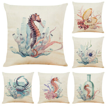 Cuscino in lino Seahorse dell'acquerello Creature subacquee