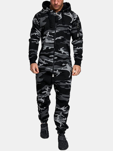 Camo Hooded Zipper Onesies With Pockets