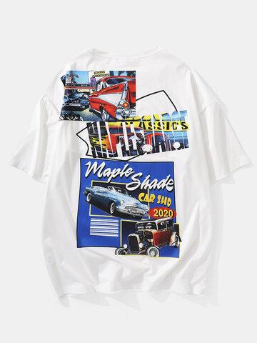 Antique Car Graphics Oversized T-Shirts