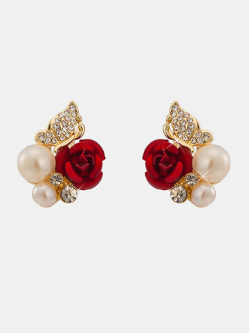 Luxury Rose Butterfly Pearl Earrings