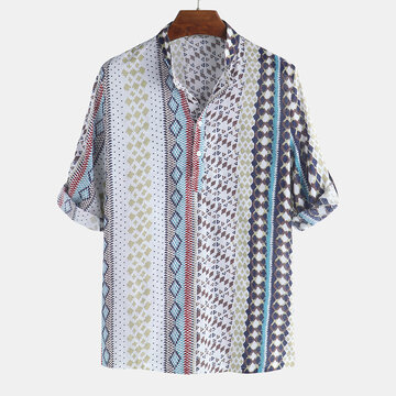 Mens Ethnic Style Printed Loose T-shirt