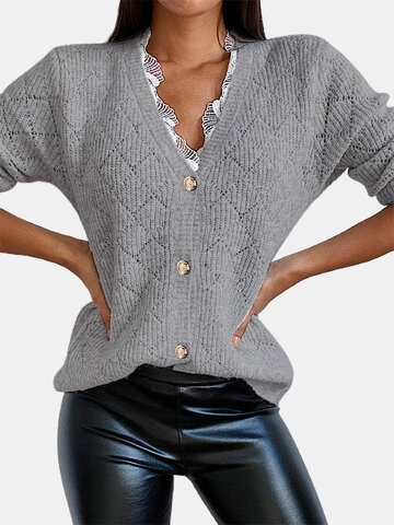 Lace V-neck Solid Knitted Sweater