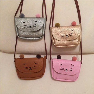 Kindergarten Children PU Leather Handbag Cartoon Cat Crossbody Bag