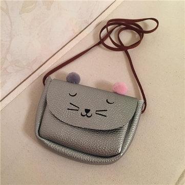 Kindergarten Children PU Leather Handbag Cartoon Cat Crossbody Bag